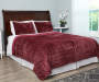 Cabernet Red Velvet Plush Full Queen 3 Piece Quilt Set lifestyle