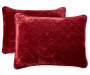 Cabernet Red Velvet Plush King 3 Piece Quilt Set silo front pillows