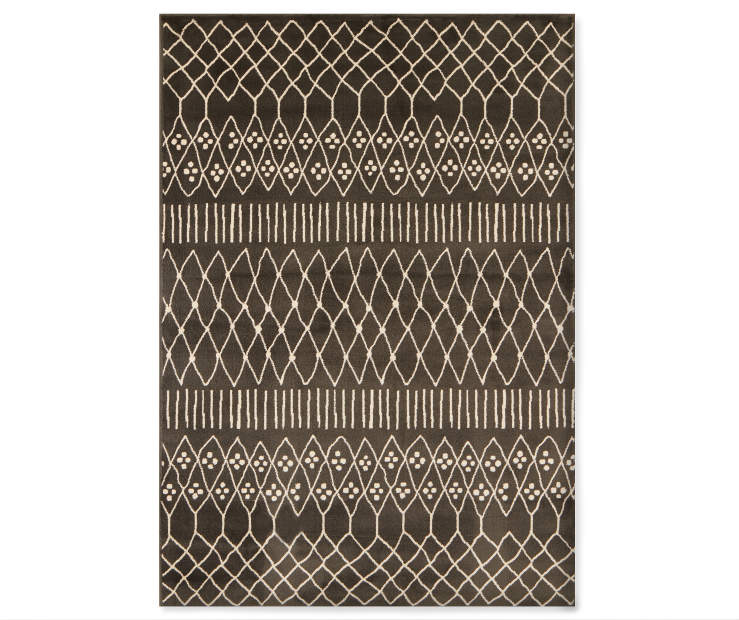 Caleb Charcoal Area Rug 6 feet 6 inches by 8 feet 6 inches overhead view silo image