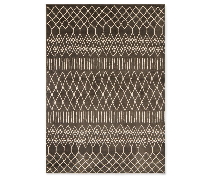 Caleb Charcoal Area Rug 7 feet 10 inches by 9 feet 10 inches overhead view silo image