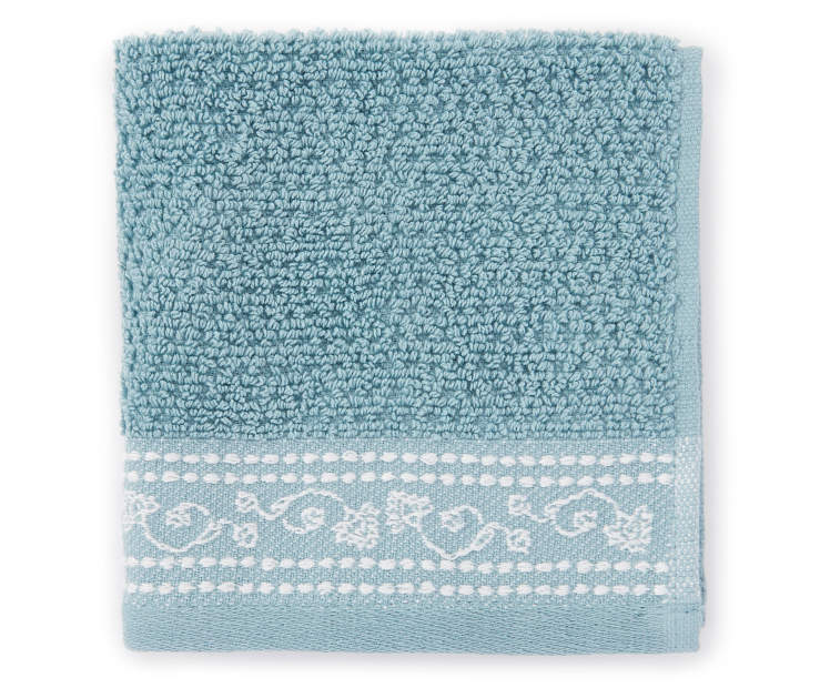 Cameo Blue Jacquard Wash Cloth Front View Silo Image