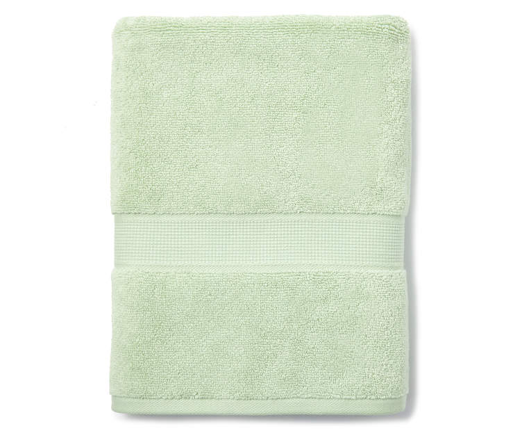 Cameo Green Bath Towel Silo Image Folded Overhead View