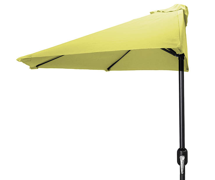 Canary Yellow Half Round Market Patio Umbrella 7 Feet 2 Inches with Hand Crank Front View Silo Image