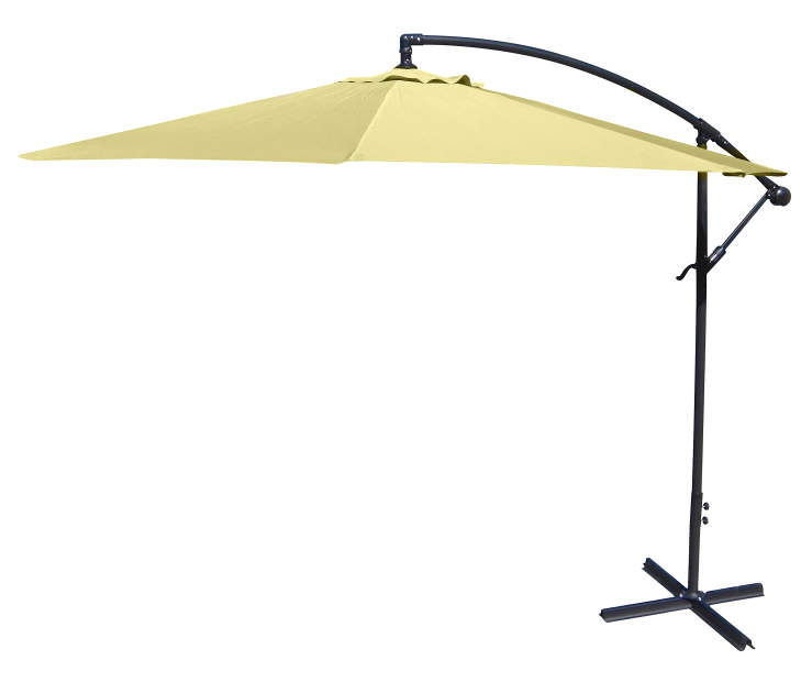Canary Yellow Offset Patio Umbrella 10 Feet with Hand Crank Side view Silo Image