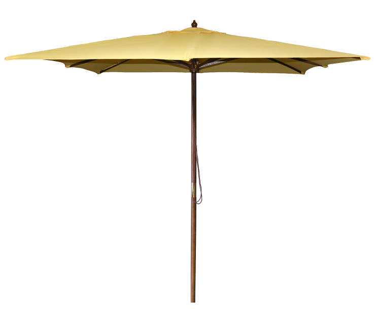 Canary Yellow Square Wood Market Patio Umbrella 8.5 Feet with Pull String Front View Silo Image