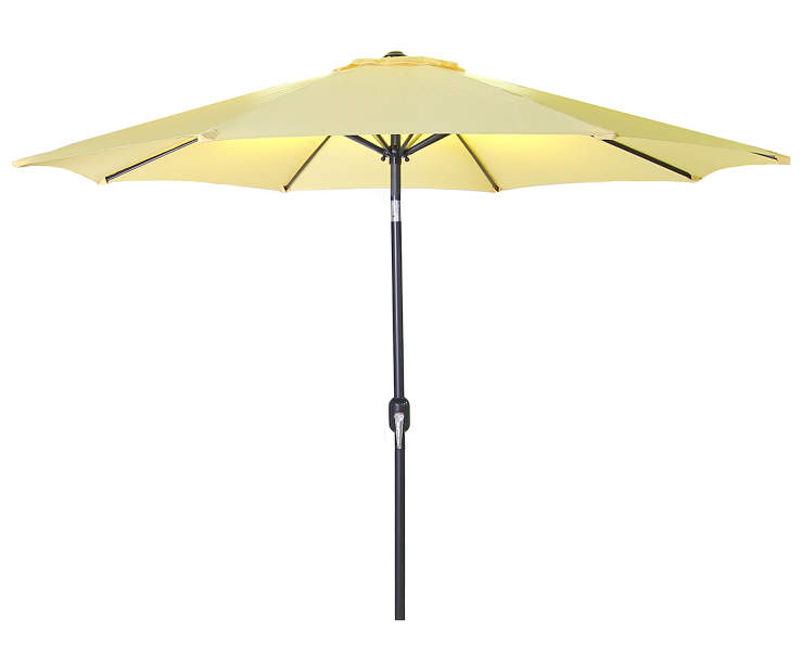 Canary Yellow Steel Market Patio Umbrella 7.5 Feet with Hand Crank Front View Silo Image