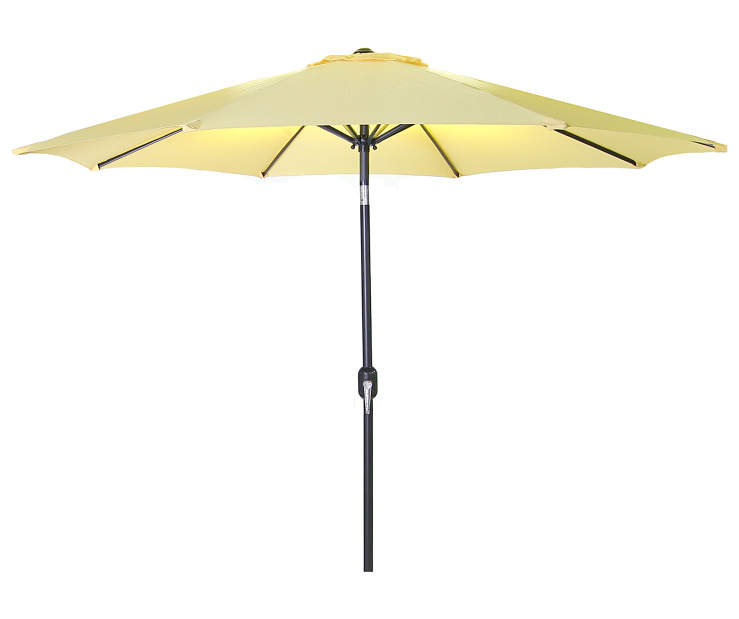 Canary Yellow Steel Market Patio Umbrella 9 Feet with Hand Crank Front View Silo Image