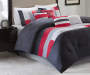 Canyon Scarlet Gray and White 8-Piece King Comforter Set Bedroom Lifestyle Image