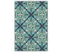 Capri Blue and Green Indoor Outdoor Area Rug 5 feet 3 inch x 7 feet 6 inch silo front