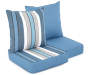 Captains Blue Stripe and Solid Reversible Outdoor Deep Seat and Back Cushion Set Silo Image