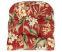 Capulet Red Floral and Stripe Reversible Outdoor  Wicker Chair Cushion Silo Image Floral Overhead View