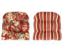 Capulet Red Floral and Stripe Reversible Outdoor  Wicker Chair Cushion Silo Image Overhead View