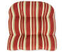 Capulet Red Floral and Stripe Reversible Outdoor  Wicker Chair Cushion Silo Image Stripe Overhead View