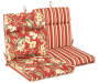 Capulet Red Floral and Stripe Reversible Outdoor Chair Cushion Silo Image Angled View