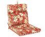 Capulet Red Floral and Stripe Reversible Outdoor Chair Cushion Silo Image Floral Angled View