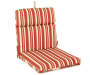Capulet Red Floral and Stripe Reversible Outdoor Chair Cushion Silo Image Stripe Angled View