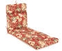 Capulet Red Floral and Stripe Reversible Outdoor Chaise Cushion Silo Image