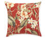Capulet Red Floral and Stripe Reversible Outdoor Throw Pillow 16 inches by 16 inches Silo image