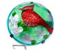 Cardinal Stained Glass Mushroom Solar Light Stake Overhead View Detail Silo Image