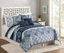 Caribbean Navy and White King 5 Piece Quilt Set lifestyle