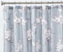 Celine Cherry Blossom Faux Silk Fabric Shower Curtain lifestyle on rod