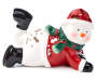 Ceramic Laying Snowman Tealight Candle Holder silo front