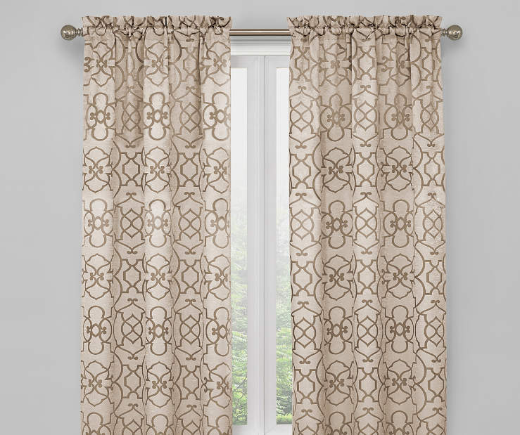 Champagne Beige and Tan Ironwork Blackout Curtain Panel Pair 63 Inches On Window Room Environment Lifestyle Image