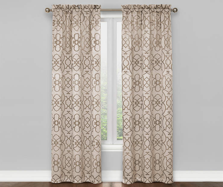 Champagne Beige and Tan Ironwork Blackout Curtain Panel Pair 84 Inches On Window Room Environment Lifestyle Image
