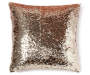 Champagne Gold Sequin Mermaid Throw Pillow 17 inch x 17 inch silo front