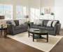 Charcoal Flannel Loveseat and Sofa Decorated Room View