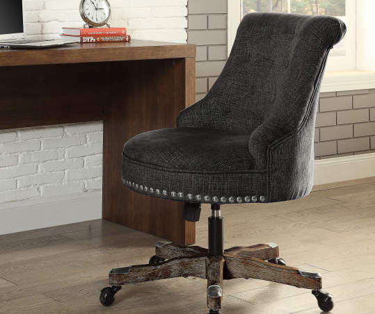 Charcoal Gray Button Tufted Office Chair With Wood Base Big Lots