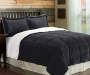 Charcoal Gray Sherpa 3-Piece Twin Full Comforter Set Bedroom Setting