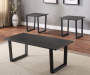 Charcoal Gray Wood and Metal Rectangular Occasional Tables 3 Piece Set Lifestyle