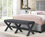 Charcoal Upholstered X Shape Base Bench bedroom setting