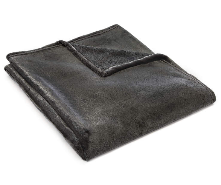 Charcoal Velvet Plush Throw silo angled