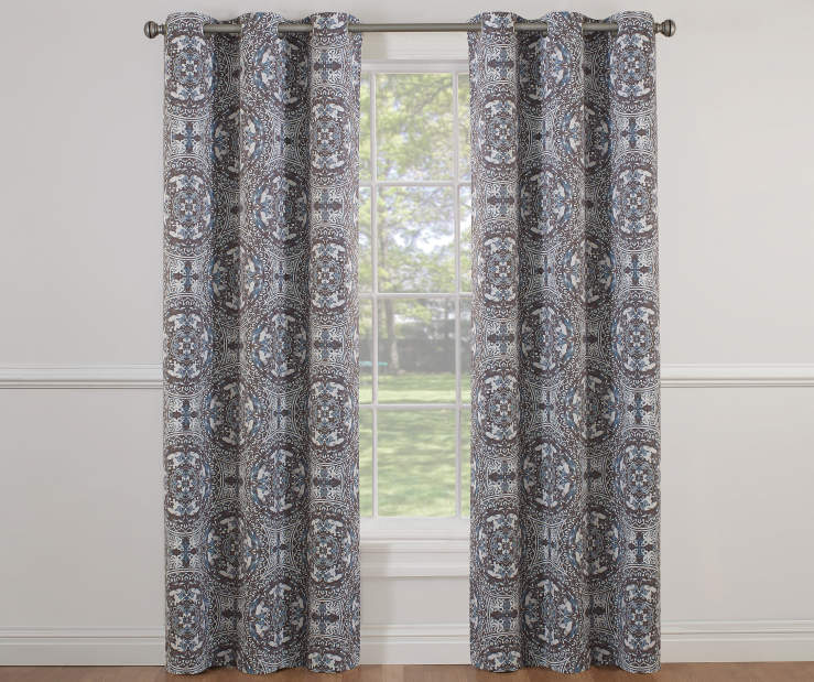 Charcoal and Blue Natalia Spa Room Darkening Curtain Panel 42X84 Window View