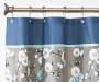 Cherry Blossom Gray and Teal Shower Curtain and Hooks Set Silo Image Pattern Detail