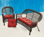 Chili Pepper Red 3 Piece Outdoor Settee and Chair Cushions Set lifestyle