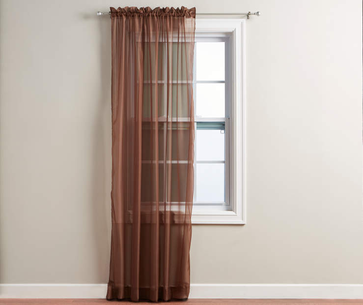 Chocolate Brown Voile Panel 84 Inches on Window Room View