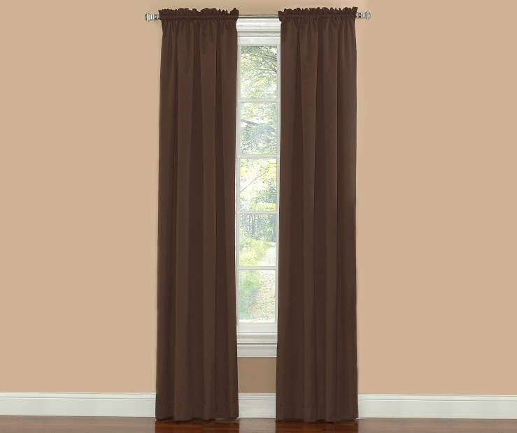 Chocolate Thermal Curtain Panel Pair 84 Inches on Window Room View