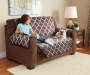 Chocolate and Geometric Reversible Loveseat Protector Lifestyle Image Geo Pattern