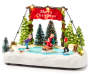Christmas Village Skating Scene Battery Operated Light Up Decor silo front