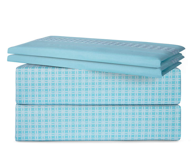 Circle Aqua Geo 6 Piece King Sheet Set Stacked and Folded Silo Image