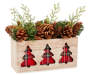 Classic Plaid and Pinecone Wood Box Centerpiece with cut-out trees featuring a plaid background, pinecones and artificial pine accents Quarter Side View Silo Image