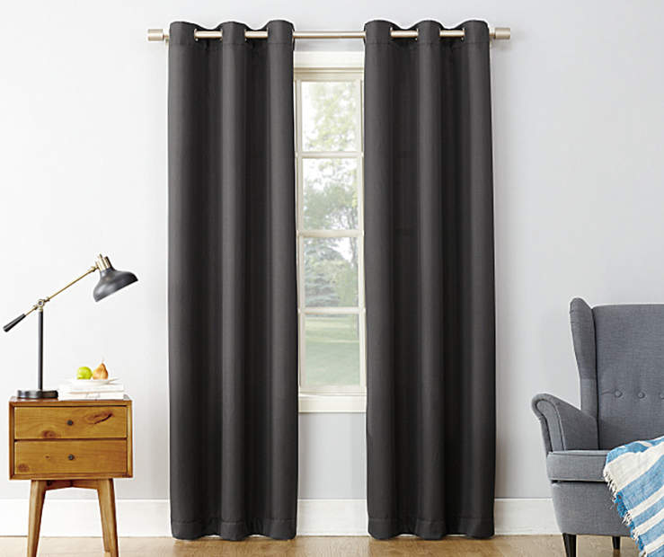 Coal Montego Curtain Panel 84 Inches On Window Room Environment Lifestyle Image