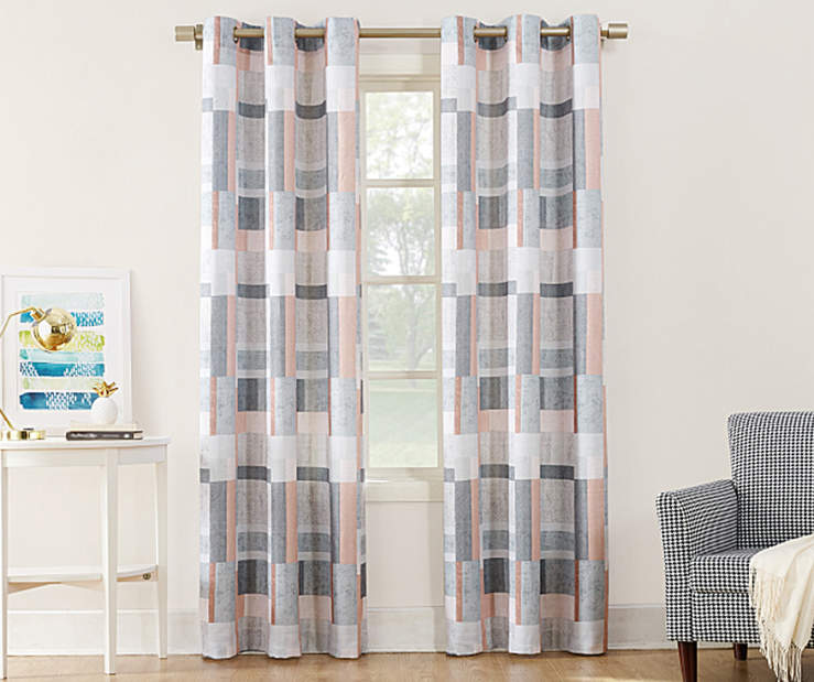 Coal and Tan Montego Curtain Panel 84 Inches On Window Room Environment Lifestyle Image
