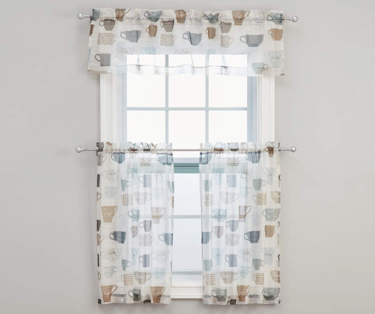 Coffee Cup Mineral Tier Valance Set 54 Inches by 36 Inches on Window Room View