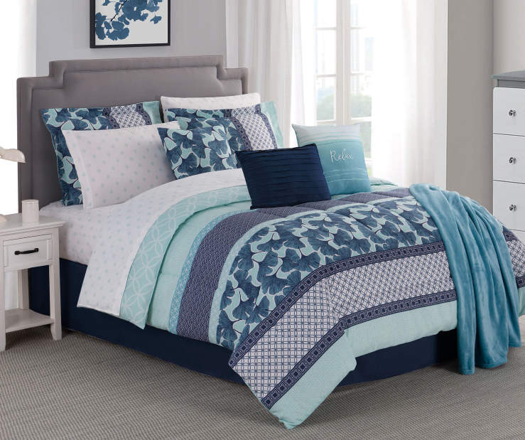 Collage Stripe and Gingko Leaf King 12 Piece Comforter Set Lifestyle Image