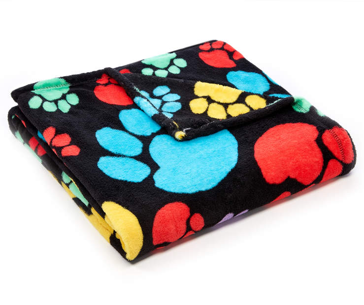 Colorful Puppy Paw Prints Soft Throw silo angled