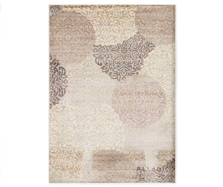 Conway Silver Area Rug 6 feet 6 inches by 8 feet 6 inches overhead view silo image